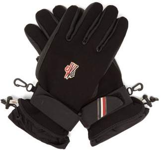 Moncler Leather And Canvas Ski Gloves - Womens - Black