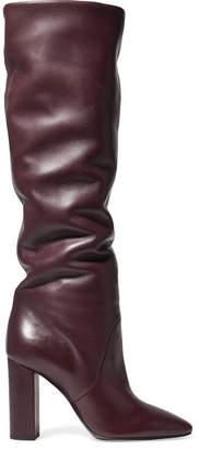 Saint Laurent Lou Leather Knee Boots - Burgundy