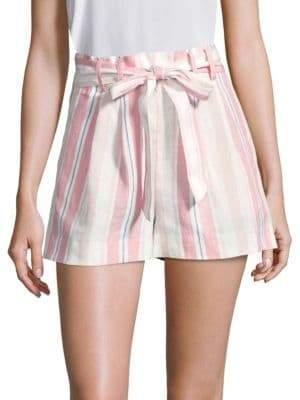 Parker Women's Sage Striped Linen Shorts - Size 2