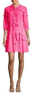 Saloni Women's Tilly Ruffle Mini Dress - Bright Pink - Size 4