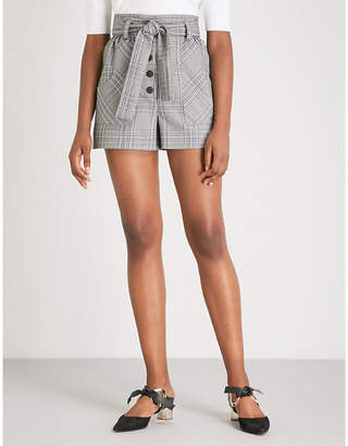 Maje Raime high-rise checked woven shorts