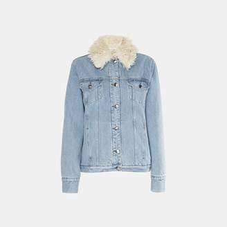 Frame Le Curly Faux-Shearling Waist Length Denim Jacket