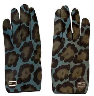 Fendi Ponyhair Snap Gloves