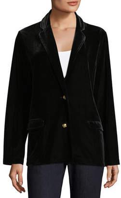 Joan Vass Plus Size Stretch-Velvet Two-Button Blazer