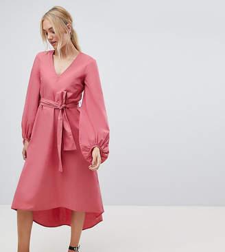 Vero Moda Tall tall bell sleeve midi dress in pink