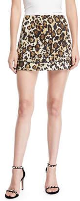 Alexis Rami Leopard-Print Short Skirt