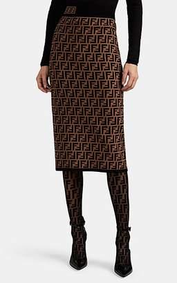Fendi Women's Logo Rib-Knit Pencil Skirt - Brown