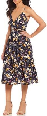 J.o.a. Floral Print A-Line Prairie Midi Dress