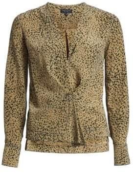Rag & Bone Rag& Bone Women's Shields Leopard Print Blouse - Olive Multi - Size XXS