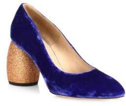 Dries Van Noten Velvet Glitter Heel Pumps