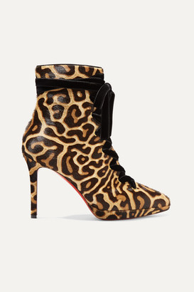 Christian Louboutin Circus Nana 100 Lace-up Leopard-print Calf Hair Platform Ankle Boots - Leopard print