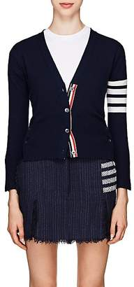 Thom Browne Women's Block-Striped Cashmere Cardigan - Navy