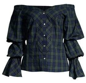 Petersyn Women's Lena Puff-Sleeve Plaid Blouse - Ulster - Size Small
