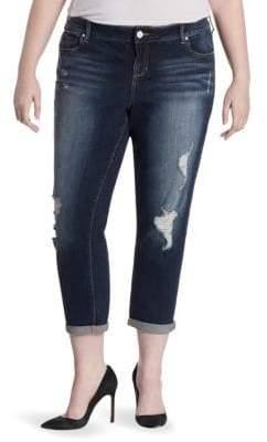 Hunter Slink Jeans, Plus Size Slink Jeans, Plus Size Women's Plus Boyfriend Cropped Jeans - Blue - Size 14