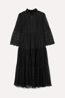Anna Sui Crocheted Cotton-blend Lace Midi Dress - Black