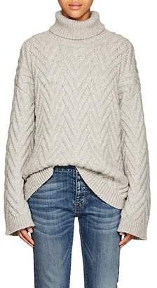 Nili Lotan Women's Lee Cable-Knit Wool-Blend Turtleneck Sweater - Light Gray