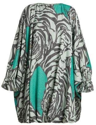 Valentino Tiger Print Balloon Sleeve Midi Dress - Womens - Green Print