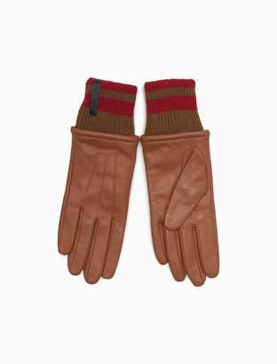 Calvin Klein leather striped cuff gloves