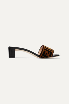 Fendi Logo-print Velvet And Leather Mules - Brown
