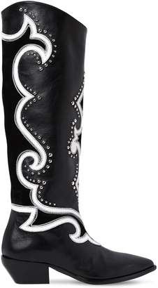 Elena Iachi 40mm Studded Leather Tall Cowboy Boots