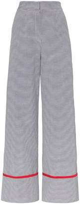 N. Duo Wide leg cotton blend check trousers