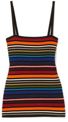 Dolce & Gabbana Striped Ribbed Cotton-blend Camisole - Orange