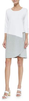 Joan Vass Plus Size 3/4-Sleeve Colorblock Dress, White/Heather Gray