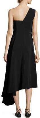 Rosetta Getty One-Shoulder A-Line Dress with Asymmetric Hem, Black