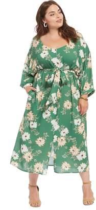 Theory White Label Crepe Rayon Reversible Ryan Dress - Zinnia, Plus Size