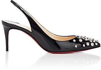 Christian Louboutin Women's Drama Sling Patent Leather Pumps - Black, Silver