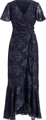 Ralph Lauren Jacquard Surplice Gown