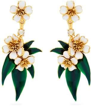Oscar de la Renta Delicate Flower Clip On Earrings - Womens - White