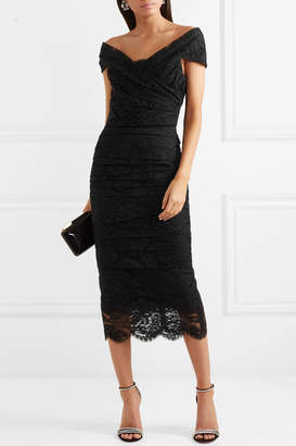 Dolce & Gabbana Off-the-shoulder Chantilly Lace Midi Dress - Black