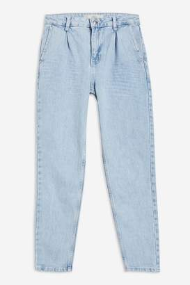 Topshop Bleach Pleated Mom Jeans
