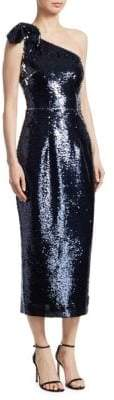 Safiyaa Safiyaa Women's One-Shoulder Sequin Cocktail Dress - Navy Silver - Size 38 (4-6)