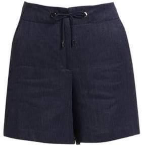Loro Piana Women's Steph Linen Shorts - Denim Dark Night - Size 38 (2)