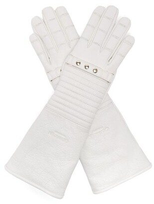 Calvin Klein Padded Leather Gloves - Womens - White