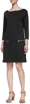 Joan Vass Plus Size Knit Zip-Pocket Shift Dress