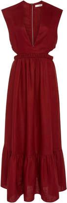 Tibi Cutout Wool-Canvas Midi Dress