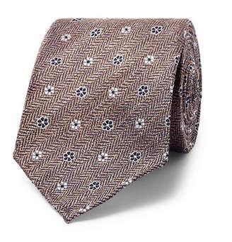 Drakes Drake's 8cm Floral Silk And Linen-Blend Jacquard Tie