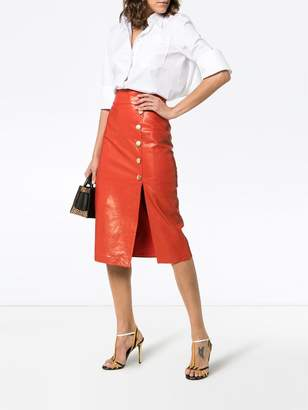 Skiim Lucy button down leather midi skirt