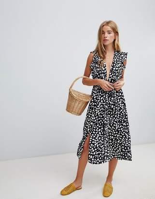Glamorous sleeveless midi dress with flutter sleeves in smudge polka dot