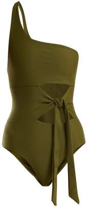 JADE SWIM Collision One Shoulder Swimsuit - Womens - Dark Green