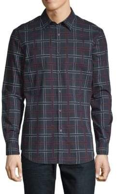 Perry Ellis Cotton Dobby Plaid Shirt