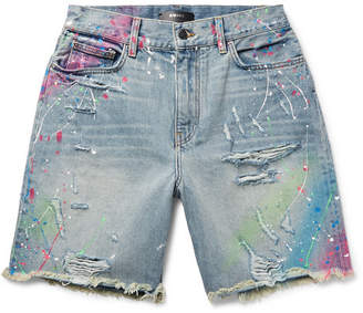 Amiri Thrasher Wide-Leg Distressed Paint-Splattered Denim Shorts