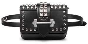 Prada Women's Cahier Studded Belt Bag - Black