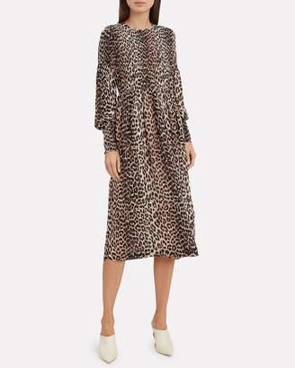 Ganni Printed Georgette Smocked Leopard Dress