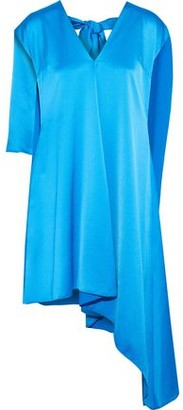 MSGM Asymmetric Layered Satin-Crepe Dress