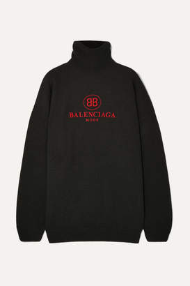 Balenciaga Embroidered Wool And Cashmere-blend Turtleneck Sweater - Black