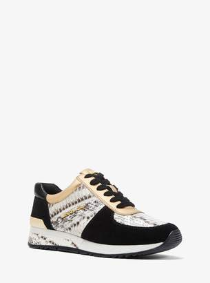 MICHAEL Michael Kors Allie Snakeskin and Suede Trainer